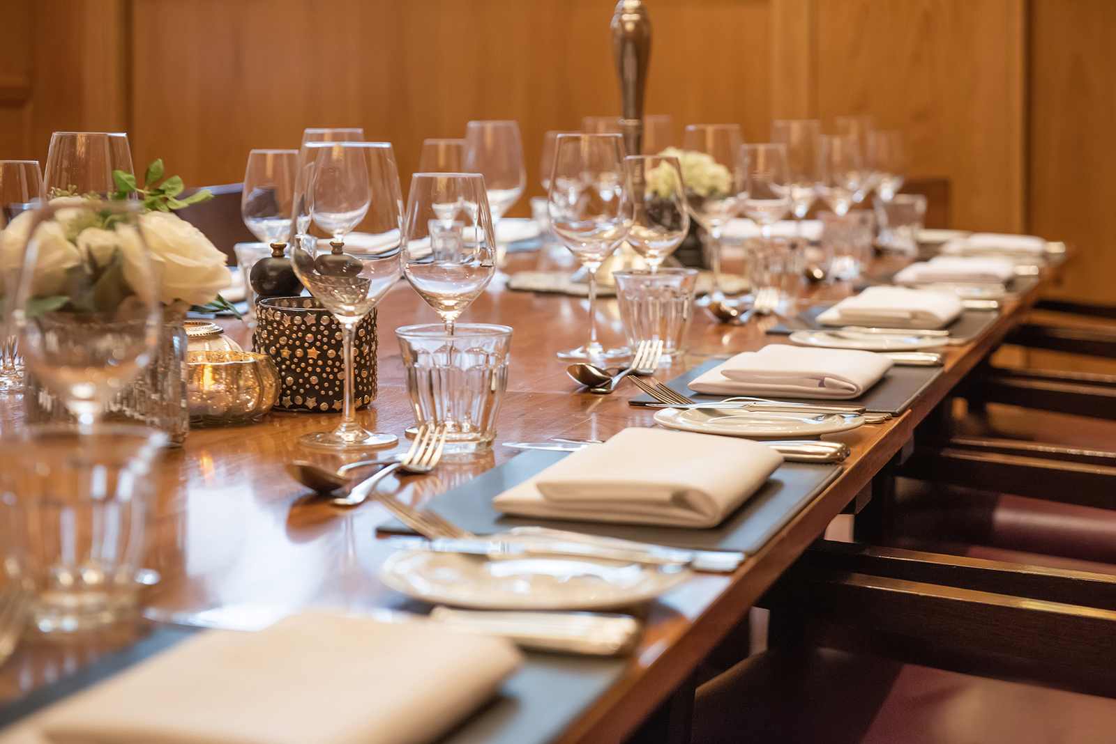 Private dining table close up